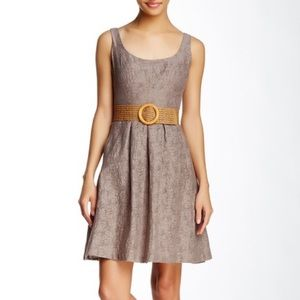 Nine West Textured  Fit and Flare Dress with Belt